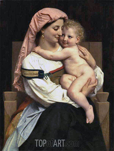 Woman of Cervara and Her Child, 1861 | Bouguereau | Painting Reproduction