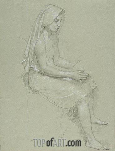 Bouguereau | Study of a Seated Veiled Female Figure,