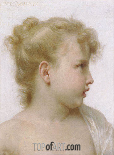 Head of a Little Girl, 1888 | Bouguereau | Painting Reproduction
