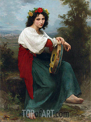 The Italian Girl with Basque's Tambourin, 1872 | Bouguereau| Painting Reproduction