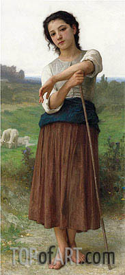 Young Shepherdess, 1887 | Bouguereau | Gemälde Reproduktion