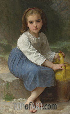 Girl with Pitcher, 1885 | Bouguereau| Painting Reproduction