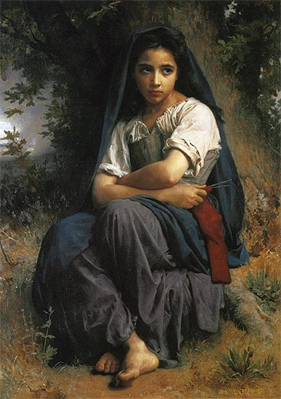 The Little Knitter, 1875   Bouguereau   Painting Reproduction