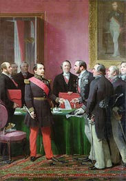 Napoleon III Hands Over The Decree allowing the Annexation of the Suburban Communes of Paris to Baron Georges Haussmann in June 1859, Undated von Adolphe Yvon | Gemälde-Reproduktion