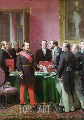 Napoleon III Hands Over The Decree allowing the Annexation of the Suburban Communes of Paris to Baron Georges Haussmann in June 1859,  | Adolphe Yvon| Painting Reproduction