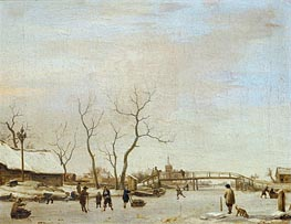 Frozen Canal with Skaters and Hockey Players, 1668 by Adriaen van de Velde | Painting Reproduction