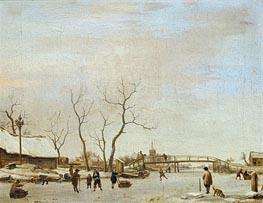 Frozen Canal with Skaters and Hockey Players, 1668 von Adriaen van de Velde | Gemälde-Reproduktion