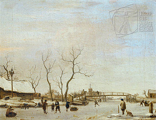 Frozen Canal with Skaters and Hockey Players, 1668 | Adriaen van de Velde| Painting Reproduction