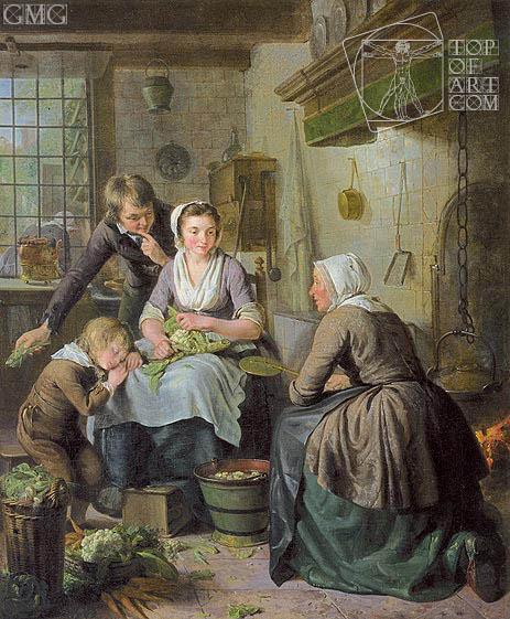 Kitchen Scene, c.1794/95   Adriaen de Lelie   Painting Reproduction