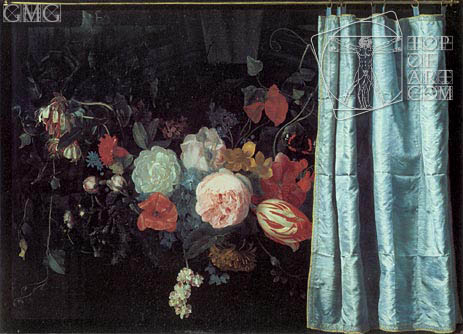 Adrian van der Spelt | Still Life with Flowers and Curtain, 1658