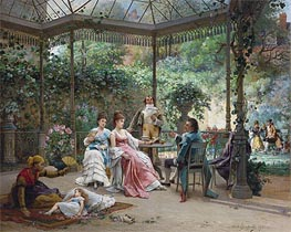 The Attentive Guests, 1876 von Adrien de Boucherville | Gemälde-Reproduktion
