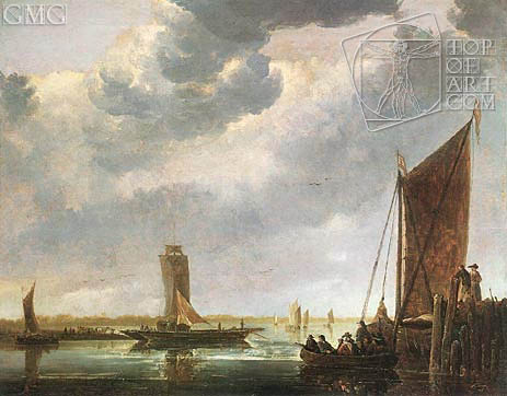 The Ferry Boat (The River Crossing), c.1652/55 | Aelbert Cuyp | Painting Reproduction