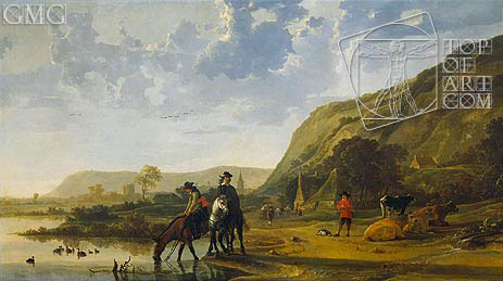 Aelbert Cuyp | River Landscape with Riders, c.1655