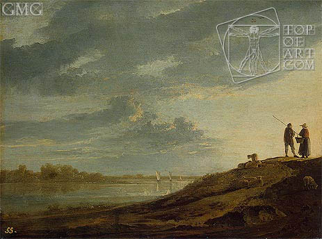 Aelbert Cuyp | Sunset over the River, c.1650