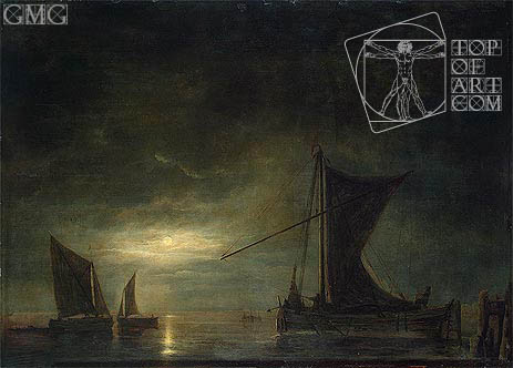 The Sea by Moonlight, c.1648 | Aelbert Cuyp | Gemälde Reproduktion