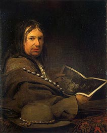 Portrait of a Collector (Self-Portrait with Etching by Rembrandt)  , a.1685 by Aert de Gelder | Painting Reproduction