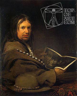 Aert de Gelder | Portrait of a Collector (Self-Portrait with Etching by Rembrandt)  , a.1685