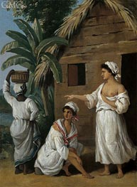 CaribbeanWomen in Front of a Hut, c.1770/80 by Agostino Brunias | Painting Reproduction