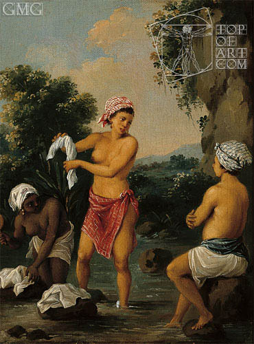 Three Caribbean Washerwomen by a River, c.1770/80 | Agostino Brunias | Painting Reproduction