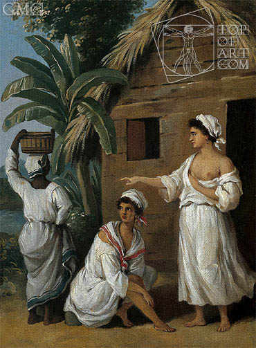 CaribbeanWomen in Front of a Hut, c.1770/80 | Agostino Brunias | Painting Reproduction