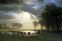 The Buffalo Trail, 1869 by Bierstadt | Painting Reproduction