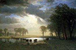 The Buffalo Trail, 1869 von Bierstadt | Gemälde-Reproduktion