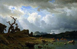 Thunderstorm in the Rocky Mountains, 1859 by Bierstadt | Painting Reproduction