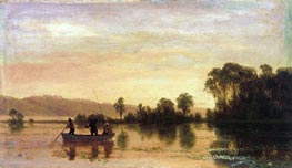 River Scene, 1858 by Bierstadt | Painting Reproduction