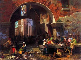 Roman Fish Market, Arch of Octavius, 1858 by Bierstadt | Painting Reproduction