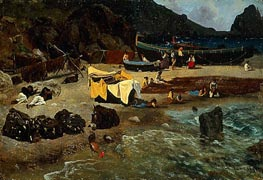 Fishing Boats at Capri, 1857 by Bierstadt | Painting Reproduction