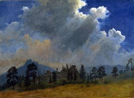Fir Trees and Storm Clouds, c.1870 by Bierstadt | Painting Reproduction