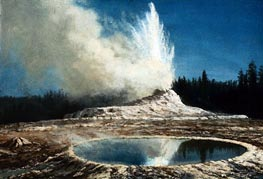 Geyser, Yellowstone Park, c.1881 by Bierstadt | Painting Reproduction