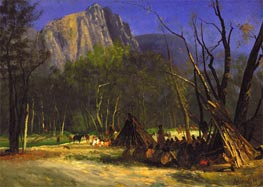 Indians in Council, California, c.1872 by Bierstadt | Painting Reproduction