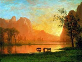 Sundown at Yosemite, undated by Bierstadt | Painting Reproduction