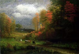 Rainy Day in Autumn, Massachusetts, 1857 by Bierstadt | Painting Reproduction