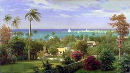 Panoramic View of the Harbour at Nassau in the Bahamas, undated by Bierstadt | Painting Reproduction