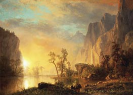 Sunset in the Rockies, 1866 by Bierstadt | Painting Reproduction