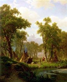 Indian Encampment, Shoshone Village, 1860 by Bierstadt | Painting Reproduction