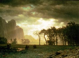Passing Storm in Yosemite, 1865 by Bierstadt | Painting Reproduction