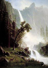 Bridal Veil Falls, Yosemite, c.1871/73 by Bierstadt | Painting Reproduction