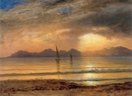 Sunset Over A Mountain Lake, undated by Bierstadt | Painting Reproduction