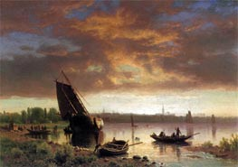 Harbor Scene, c.1860/69 by Bierstadt | Painting Reproduction