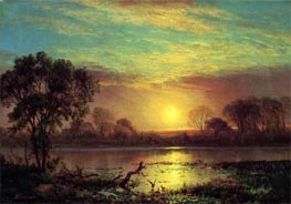 Evening, Owens Lake, California, undated by Bierstadt | Painting Reproduction
