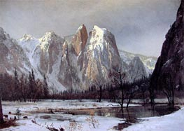 Cathedral Rock, Yosemite Valley, California, 1872 by Bierstadt | Painting Reproduction