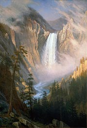 Yellowstone Falls, c.1881 by Bierstadt | Painting Reproduction