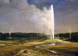 Geysers in Yellowstone, c.1881 by Bierstadt | Painting Reproduction