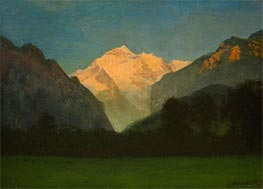 View of Glacier Park (Sunset on Peak), undated by Bierstadt | Painting Reproduction