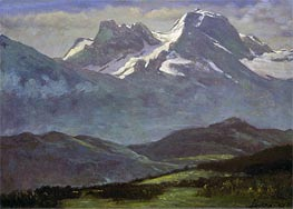 Summer Snow on the Peaks or Snow Capped Mountains, indated by Bierstadt | Painting Reproduction