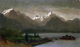 Mountains and Lake, indated by Bierstadt | Painting Reproduction