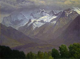 In the High Mountains, indated by Bierstadt | Painting Reproduction